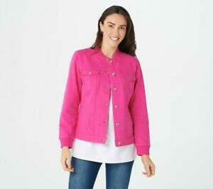 Denim-amp-Co-Comfy-Knit-Button-Front-Jean-Jacket-With-Rib-Trim-XS-Pink-A303110