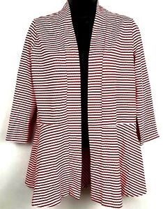 Kim-Rogers-women-039-s-open-front-jacket-size-Small-red-and-white-striped-3-4-sleeve