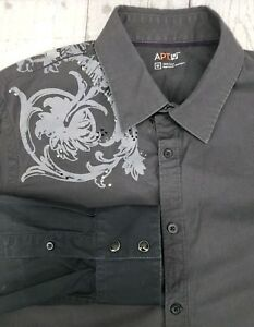 e5af44e84 Apt 9 Graphic Button Down Shirt Sz Medium Gray Rhinestone Long ...