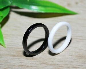 Set-Keramik-Ring-Fingerring-Weiss-Schwarz-2mm
