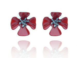 Poppy-Dark-Red-with-black-middle-stud-earrings