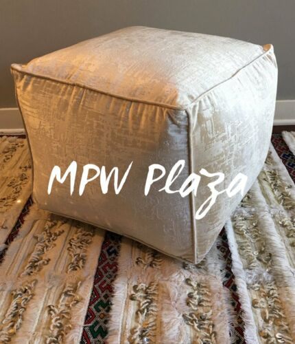 MPW Plaza Velvet Square Pouf Vanilla Moroccan Ottoman Stuffed