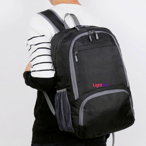 Mochila Plegable Impermeable Ligera para Viaje Camping Unisex Bolsa Negro Laptop