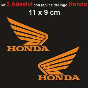 Kit-2-Adesivi-Honda-Moto-Stickers-Adesivo-11-x-9-cm-decalcomania-ARANCIONE