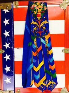 Vintage Floral Tie Blue Rush Limbaugh Preppy 70s 80s 90s