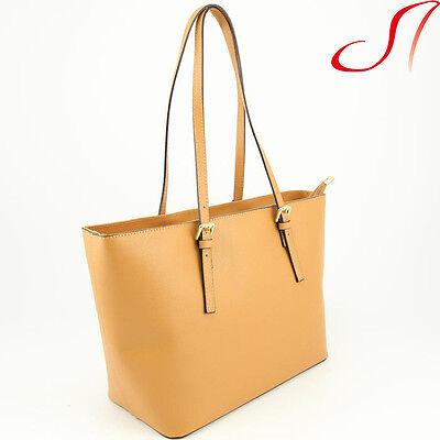 Ital. echt Leder Shopper Ledershopper Ledertasche Damen Cognac Braun NEU