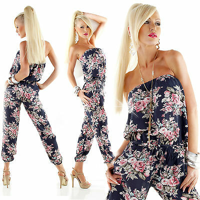 Sexy Women Floral Bandeau Jumpsuit Summer Play suit Overall Size 8 10 12 S Black