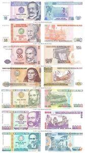 Peru-10-50-100-500-1000-5000-10000-Intis-Conjunto-de-7-Billetes-Unc