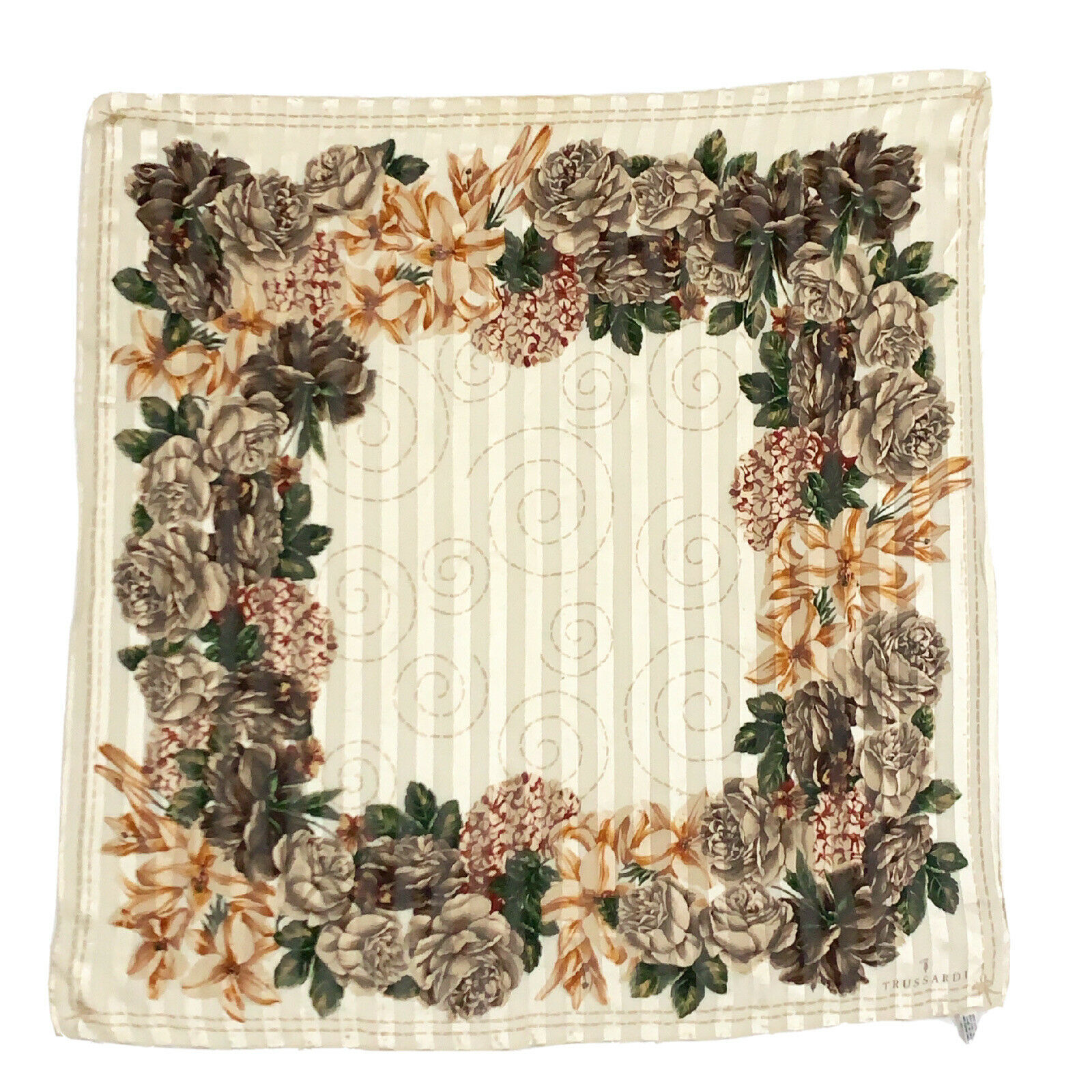 TRUSSARDI FLORAL BEIGE LARGE silk Scarf 33/32 inMADE IN ITALY #A85
