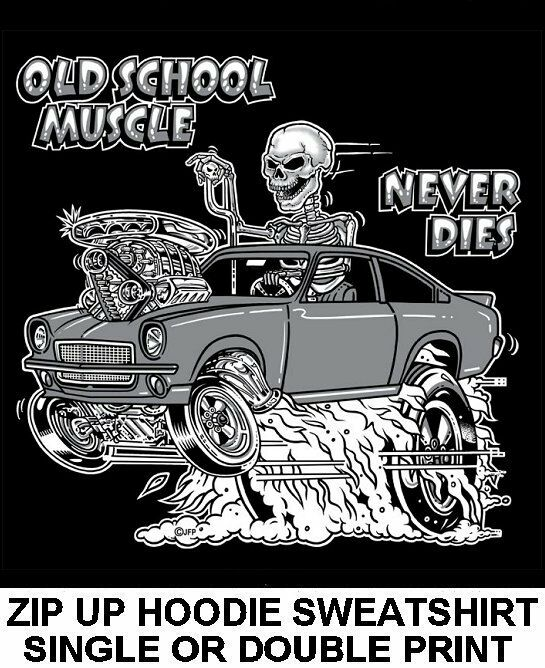 1970-77 OLD SCHOOL MUSCLE HOT ROD RACE BLOWER CAR SKULL ZIP HOODIE SWEATSHIRT O6