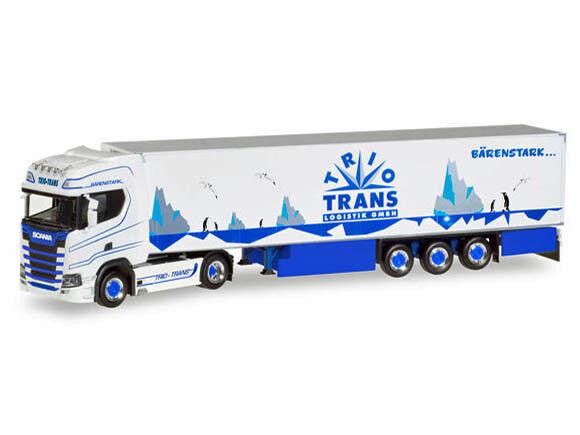 Herpa 308052 H0 LKW Scania CS20 HD Kühlkoffer-Sattelzug Trio-Trans  | Verrückter Preis, Birmingham