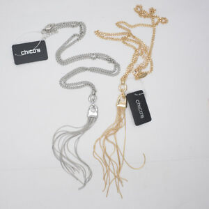 CHICOS-SIGNED-JEWELRY-GOLD-TONE-SILVER-PLATED-LONG-TASSEL-PENDANT-NECKLACE-CHAIN