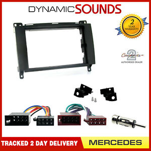Double-Din-Car-Stereo-Fitting-Kit-Fascia-Panel-ISO-Wiring-Loom-for-Mercedes-Benz