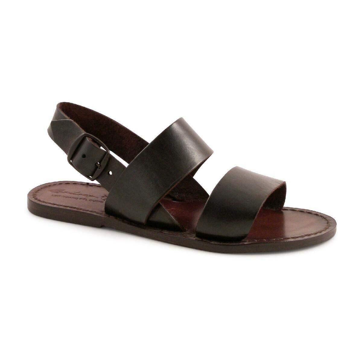 Hecho A Mano Para Mujer Zapatos Sandalias franciscano marrón oscuro cuero verdadero hecha en Italia
