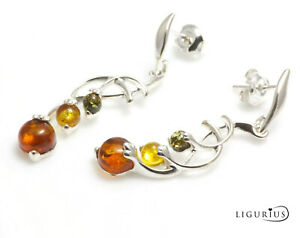Natural Baltic amber earrings with sterling silver 925