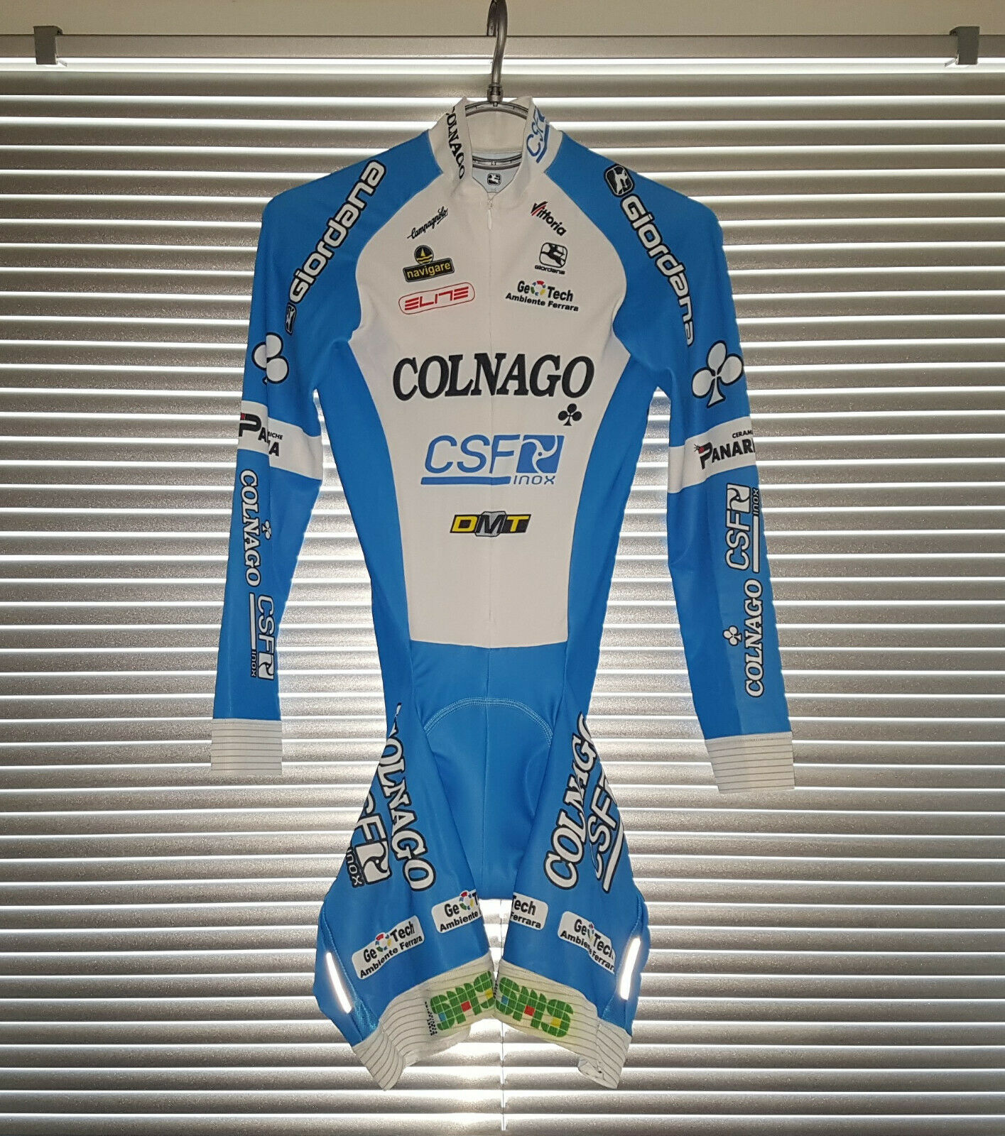 Raro Colnago CSF Panaria Issued ciclismo de velocidad Raza traje Giordana Hombre Talla M