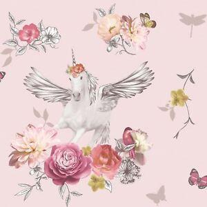 Fantasia-Anastasia-Licorne-Papier-Peint-Rose-arthouse-692302-Paillette