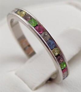 925 Sterling Silver~Oxidized~Multistone~Gemstone~Eternity Ring~Choose Size