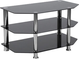 Contemporary Modern Design Black Glass Tv Stand With Stainless Steel