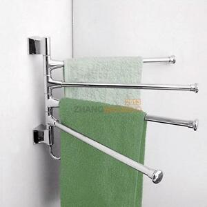 Stainless Steel 4 Swivel Bars Towel Holder Wall Mounted