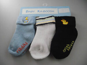 BNWT Baby Boy Ka-Boosh Brand Warm Non Slip Socks Navy/Blue/Whit<wbr/>e 6 to 12 Months