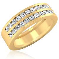 Real 0.88 Ct Natural Diamond Mens Band Solid 14K Yellow Gold Mens Band Size U N
