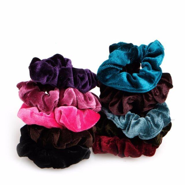 10pcs Lovely Women s Velvet Hair Band Elastic Ponytail Tie Bow Rubber  Bobbles  bd33cfc816e