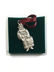 Longaberger-1990-Pewter-034-Father-Christmas-034-Santa-Claus-Ornament-2-1-2-034