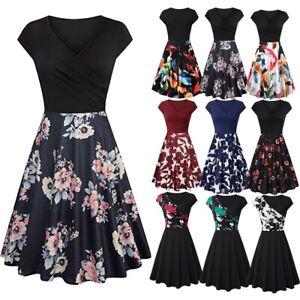 Women-Short-Sleeve-Cross-V-Neck-Vintage-Elegant-Flared-A-Line-Mini-Pleated-Dress
