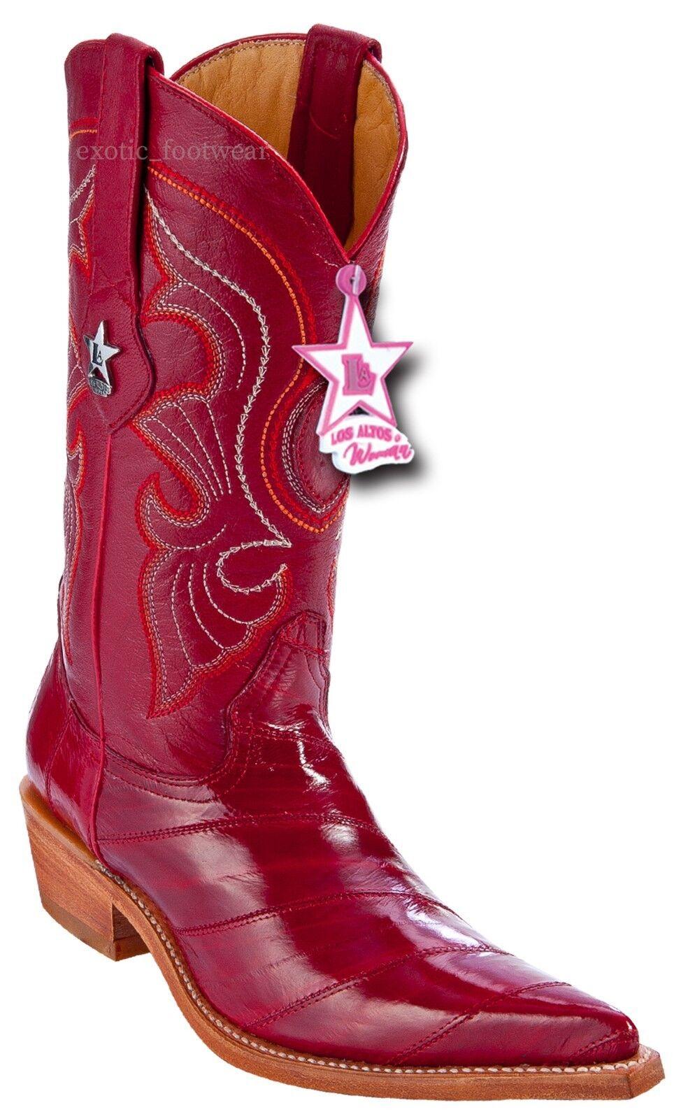 Women's Los Altos Genuine Eel Skin Western Boots 3X Pointy Toe Handmade Medium