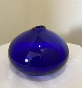 Cobalt Blue Artisan Blown Glass Vase Round Small Art Glass Bud Vase MCM Vintage