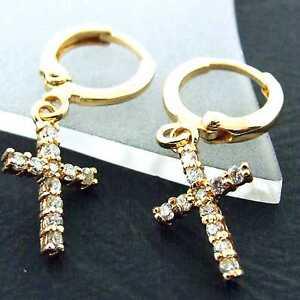 FS877-GENUINE-18K-YELLOW-G-F-GOLD-SOLID-DIAMOND-SIMULATED-CROSS-HOOP-EARRINGS