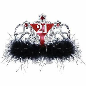 21st-Birthday-Supplies-034-21-034-Tiara-with-Black-Feathers-CLEARANCE-FLAT-BATTERIES