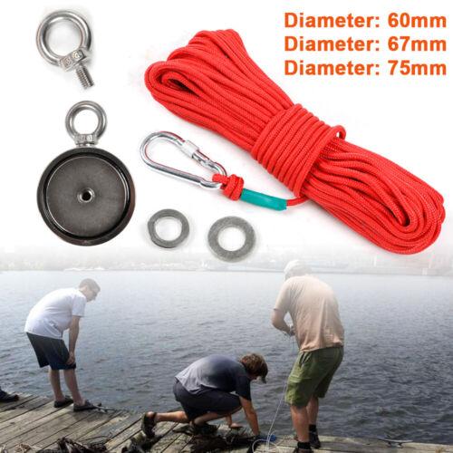 240 KG bis 400 KG Doppelseitig Neodym Magnet zum Magnetfischen mit 20m Seil DE