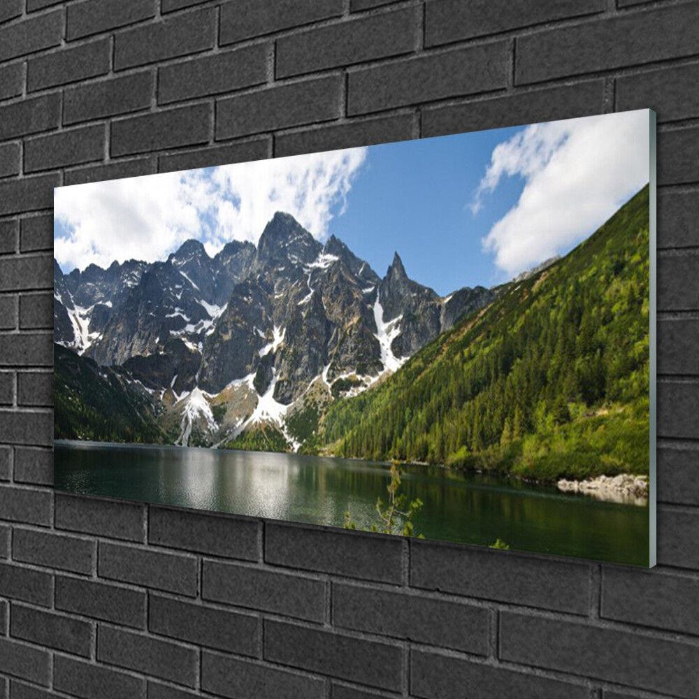 Image sur verre acrylique Tableau Impression 100x50 Paysage Montagne Lac Forêt