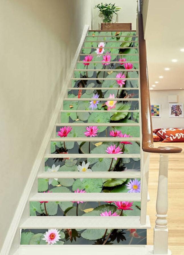 3D Seepink blueme 84 Stair Risers Dekoration Fototapete Vinyl Aufkleber Tapete DE