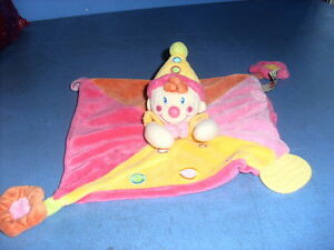 DEC3/ DOUDOU NICOTOY CLOWN PLAT ORANGE ROSE JAUNE DENTITION FLEUR