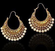 Ethnic Indian Jewelry Bollywood Pearl Polki Bali Earring ACEAZ002WH FASHION EDH