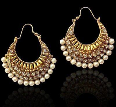 Ethnic India Jewel Bollywood Ethnic Pearl Polki Bali ADIVA Earring ACEAZ002WH