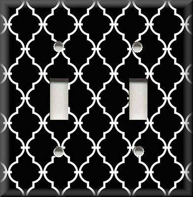 Metal Light Switch Plate Cover - Quatrefoil Moroccan Home Decor Black White