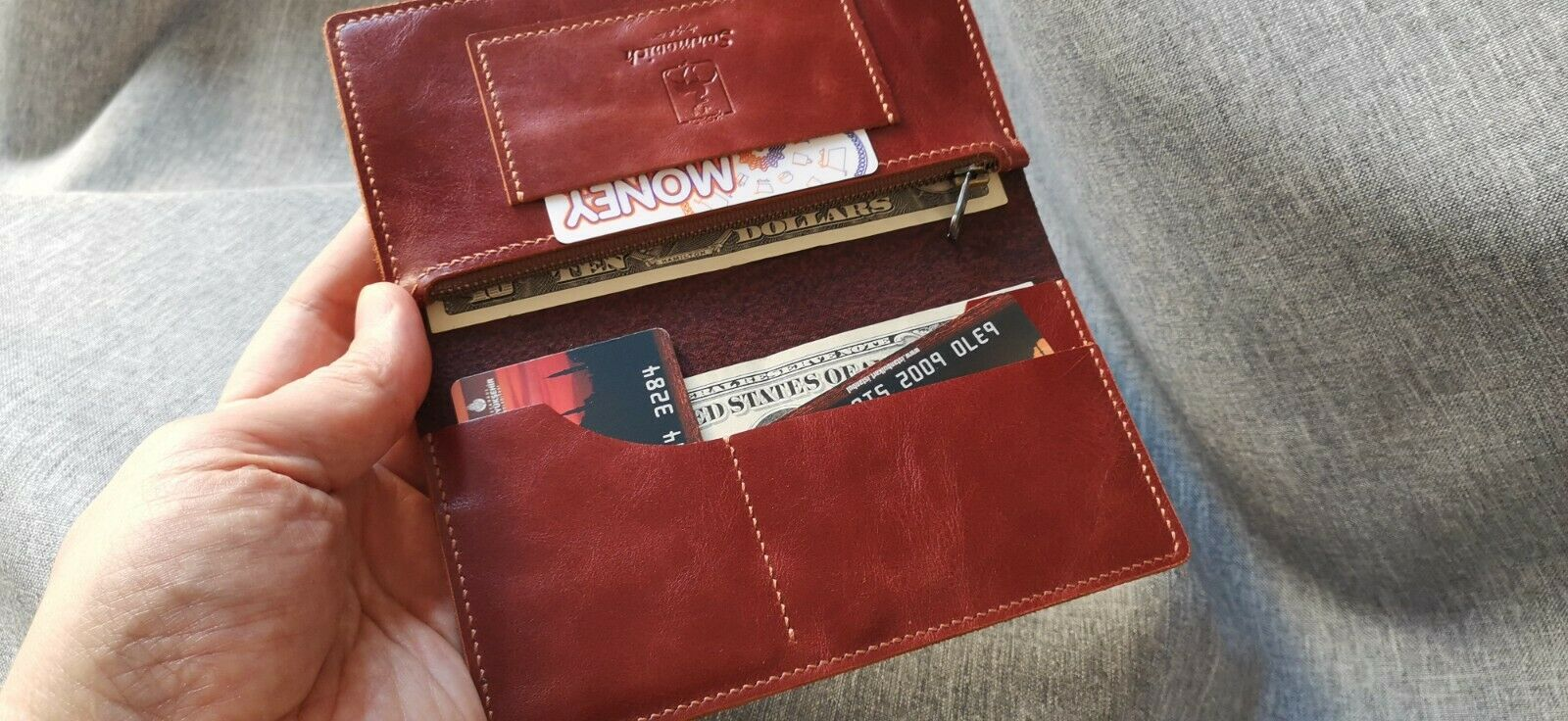 Leather Wallet VINTAGE Genuine Leather Long Wallet HAND MADE