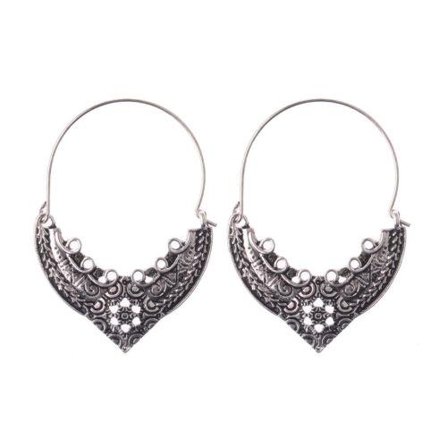 Bohemian Boho Hollow Gold Silver Carved Flower With Beads Women Hoop Earrings