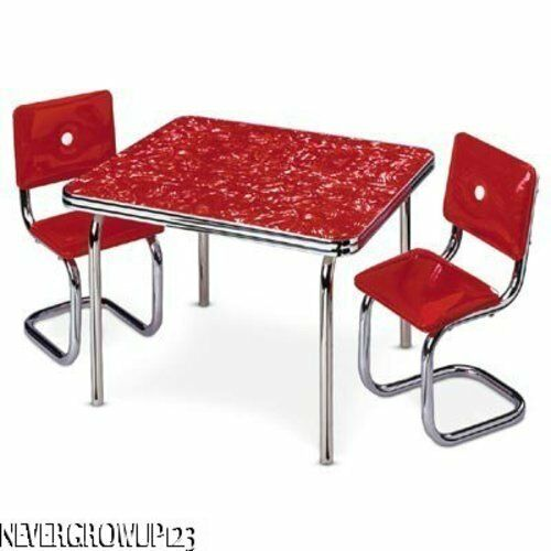 AMERICAN GIRL MOLLY~MOLLY/'S RED CHROME TABLE /& 2 CHAIRS~NIB