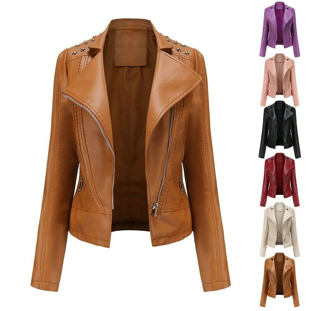 PU Leather Top Slim Spring Suit Thin Women Autumn Motorcycle Brand New