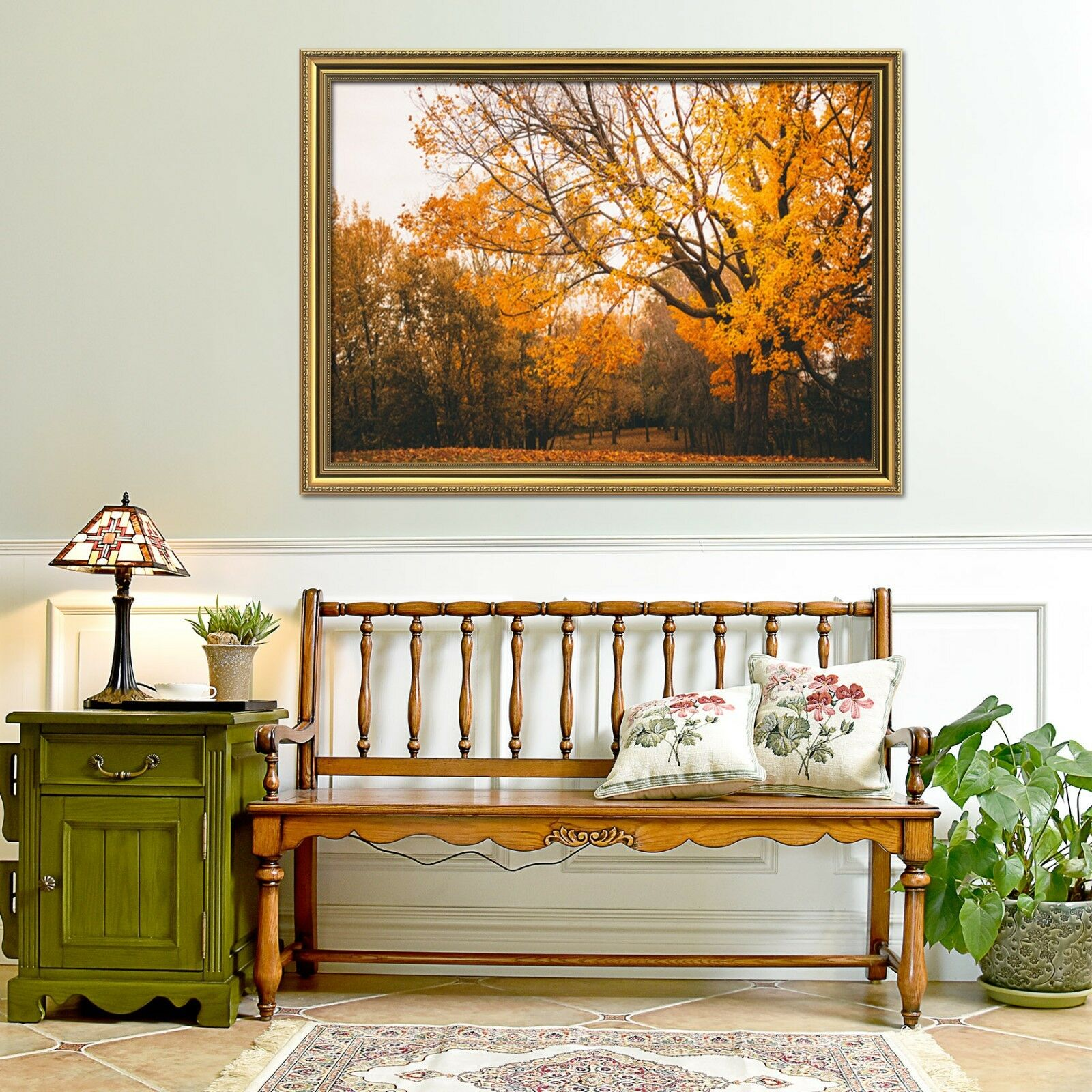 3D gold Yellow Tree Leaf 1 Framed Poster Home Decor Print Painting Art WALLPAPER