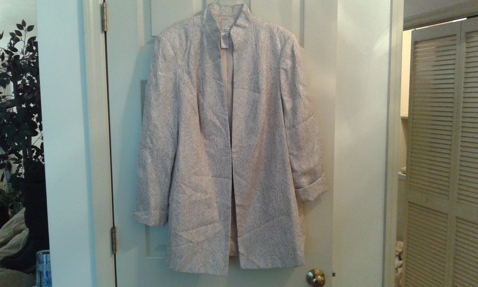Worthington Long Blazer Tunic Women's Size 14WNWT Khaki Mandarin Style (CT003K)
