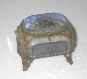 ANTIQUE VICTORIAN BRASS BEVELLED GLASS TRINKET JEWELLERY BOX CASKET