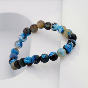 8mm-Natural-Stone-Blue-Beads-Yoga-Reiki-Men-039-s-Bracelets-Jewelry-Birthday-Gift