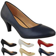 7aa37ce1 ... Low Heel Court Shoes Comfort Work Office Formal Wedding Size New.  £15.99. Free postage. Tamaris 22302 Navy/Blue Leather Block Heel Cabin Crew  Airline ...