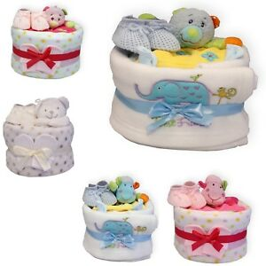 Deluxe-Nappy-Cake-Comfort-Blanket-Toy-One-Tier-Baby-Shower-Gift-Boys-Girls